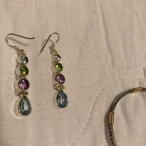 Sterling silver tear drop jewel earrings.